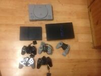 Playstation 1,2 with one game, controllers and no wires (Thick and Slim) Vtech consloe with 3 games