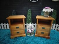 PAIR OF SOLID PINE BEDSIDE CABINETS VERY SOLID SET AND IT'S IN VERY GOOD CONDITION