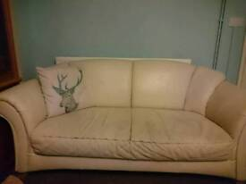 3 piece suite. Cream leather. Sofa + 2 chairs