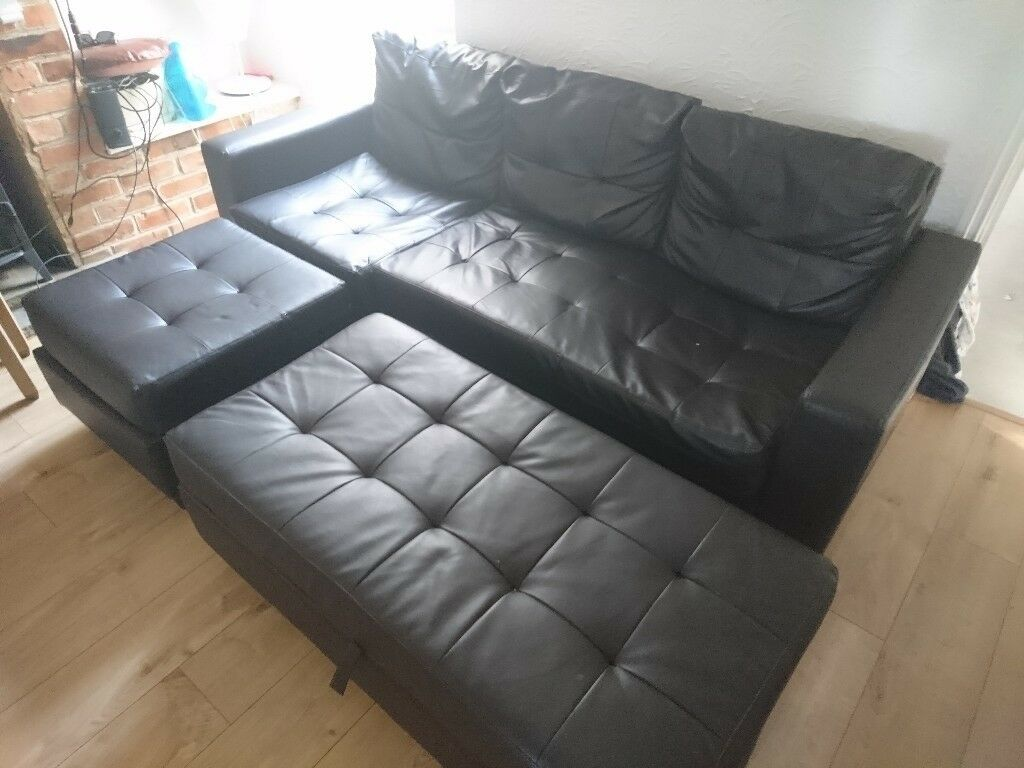 Miraculous Three Seater Sofa With Two Ottomans In Caversham Berkshire Spiritservingveterans Wood Chair Design Ideas Spiritservingveteransorg