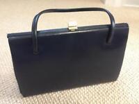 Navy leather handbag