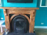 Oak fireplace and matching mirror