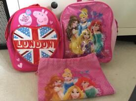 Peppa pig and princess bags