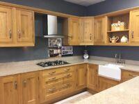 Oak kitchen ex disworktops and extractor Belfast sink and taps granite worktops and island handles