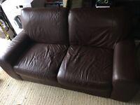 Beautiful brown 2 seater leather sofa