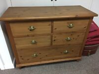 French pine dresser , with brass handles