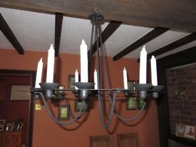 Large hanging candle chandelier in black coated metal