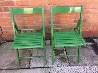 2 green deck /folding chairs