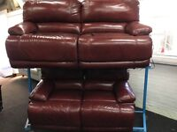 New/Ex Display LazyBoy Leather Electric 3 Seater Recliner Sofa + 2 Seater Recliner Sofa