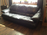 3 seater black leather sofa and armchair