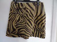 BNWT Kaliko Olive & Brown Animal Print Velvet Style Skirt Size 16