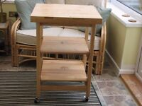 Foldable Butchers Block - Wooden on wheels