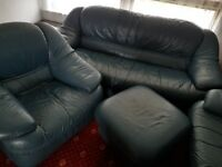 For Free - Real Leather Dark Blue Sofa 2 & 3 seater, 1 chair and 1 stool