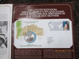 H.M. THE QUEEN MOTHER 80TH BIRTHDAY CROWN COIN AND STAMP