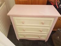 Lovely pink wooden chester draws