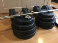 Dumbbell and barbell set - 84KG & Iron Gym Pull Up Bar