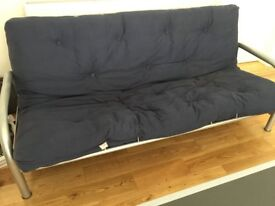 BLUE METAL FRAMED SOFA BED
