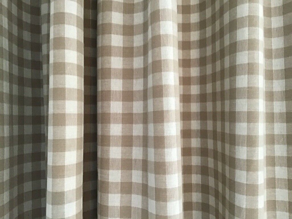 Pair Made To Measure Blackout Lined Curtains Laura Ashley Gingham Dark Linen Curtains In Cinderford Gloucestershire Gumtree