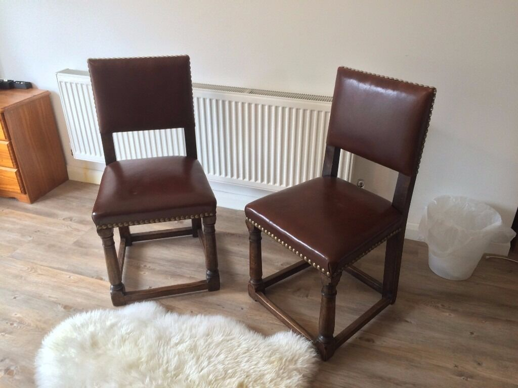 Antique Studded Leather Oak Dining Chairs | in Christchurch ...