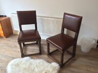 Antique Studded Leather Oak Dining Chairs