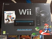 Nintendo Wii Mario Kart Black Console With Games And Controllers