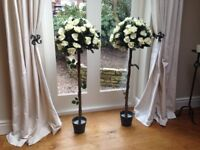 2 x Artificial Potted Rose Tree Plant - Cream. Ideal for Wedding Decoration