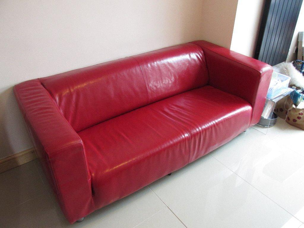 Ikea Leather Red Klippan Sofa Excellent Condition United