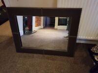 Leather Frame Mirror White Stitching