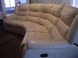 Curved leather electric reclining settee