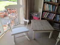 shabby chic rocking chair and side table