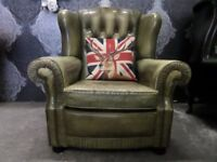 Fantastic Chesterfield Pegasus Wing Back Leather Arm Chair Vintage - UK Delivery