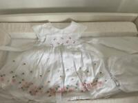 Baby girls 6-9 month white Jasper Conran dress and pants