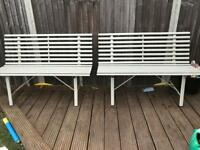 2 x Garden Bench White Metal
