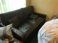 Brown Leather Three Seater Sofa/Couch