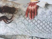Pakistani/Indian designer wedding dress white fully embellished with Swarovski size 8