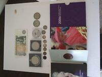 Job lot old coins, old pound note, half crowns, sixpence, threepenny piece, commemorative £5 coin