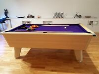 Pool Table - 7ft Tournament quality British slate bed with rare purple baize - Unmarked - As new