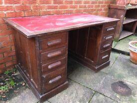 Oak Pedestal Desk - leather top