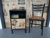 Vintage/shabby chic, wooden cabinet in black with an old style graphics - for her