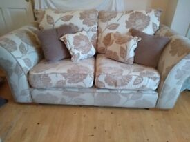 2 seater and 3 seater sofa matching rug and curtains.
