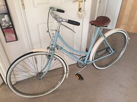 Vintage ladies Raleigh bicycle frame with Brooks leather saddle suitable for renovation project