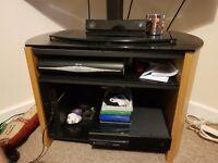 Wood and black glass tv unit