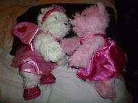 Build a Bear dressed Scottie dogs. White/Pink one barks the other I love you