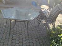 Garden furniture set outdoor patio glass table and 6 chairs free delivery