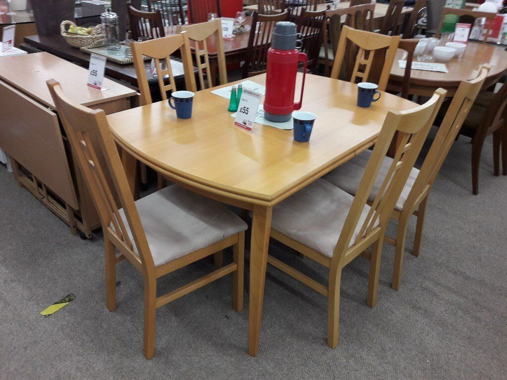 Light Wood Extending Dining Table And Cream Fabric Chairs In - Light wood extending dining table