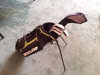 Dunlop set of rh clubs for 8-10 years olds with bag - driver, 5,7,9 iron and putter. Good condition.