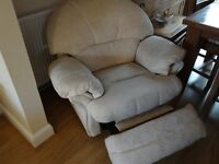 FREE Large 3 seater cream sofa and matching recling armchair