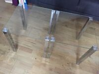 Two Glass side tables