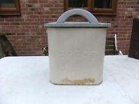VINTAGE ENAMEL BREAD BIN WITH WOODEN LID IN GOOD CONDITION HAS VARIOUS USES ONLY £12