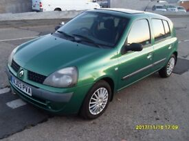 AUTO RENAULT CLIO 1.4 cc..2003..5 DOORS..52 k....f s h..MOT..SEP 18